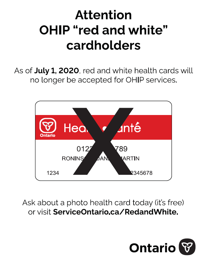 poster with instructions to visit Service Ontario to replace old health cards to new secure photo health cards